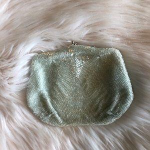 Vintage Pale Green Beaded Handbag